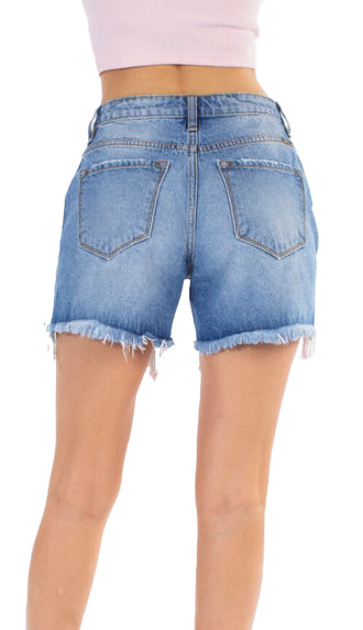 Kancan High Waisted Ripped Shorts- Medium Wash