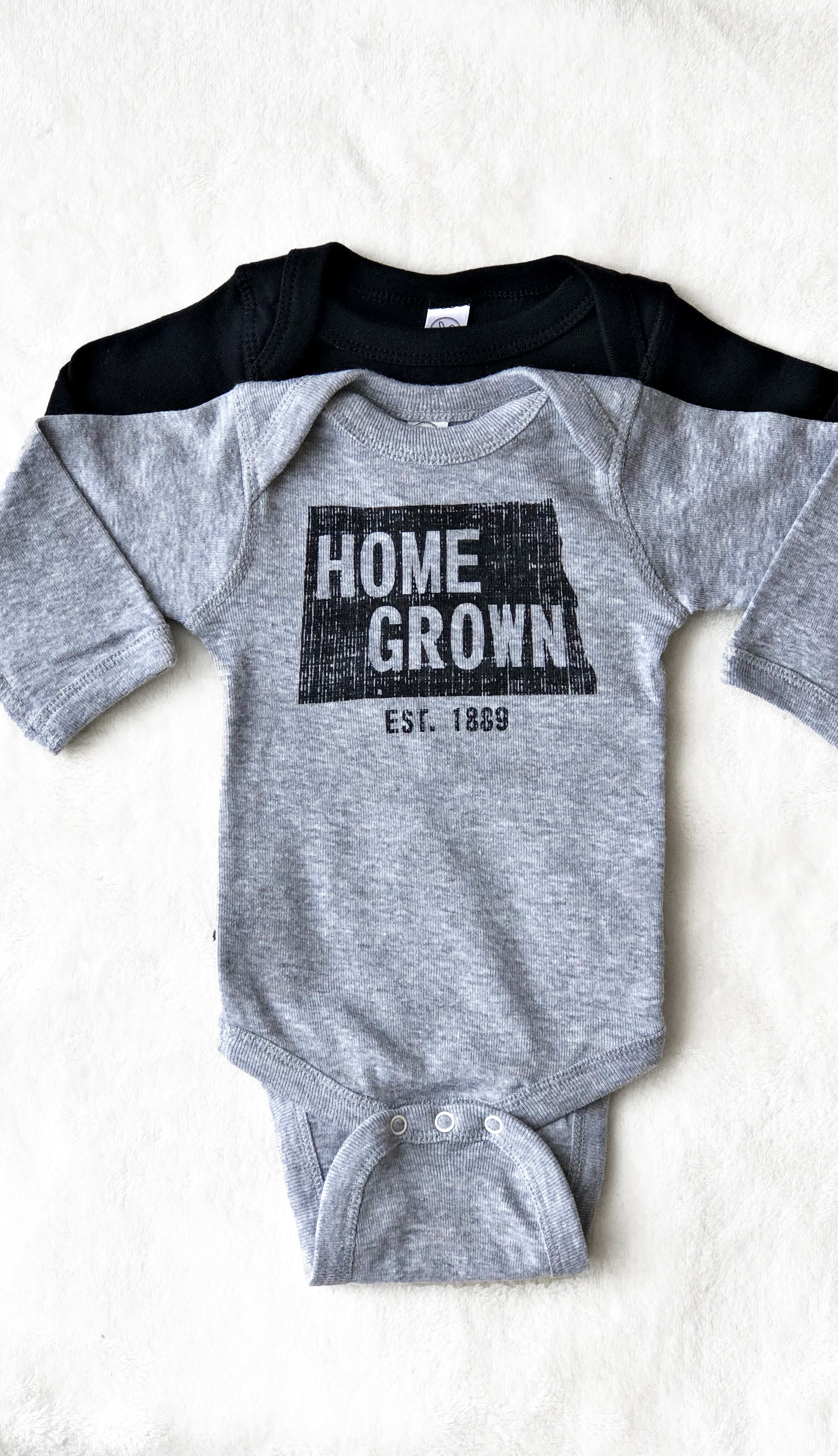 Kids Home Grown Bodysuit- Grey