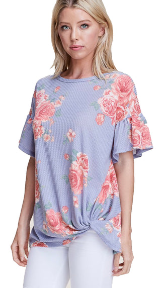Blooming Thoughts Floral Top- Lavender
