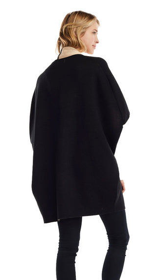 The Classy Kind Cape Cardigan/Poncho- Black/Tan