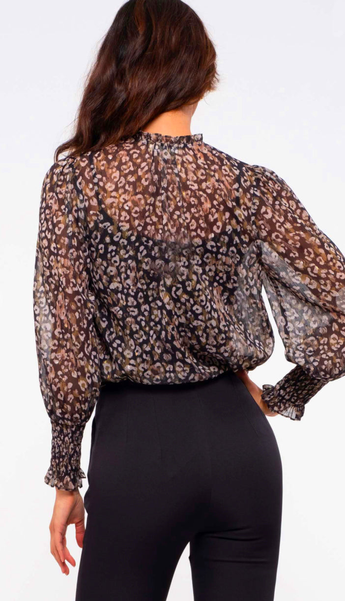 Making Moves Sheer Leopard Blouse- Navy
