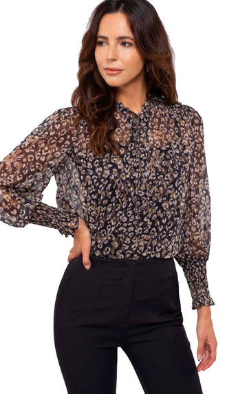 Making Moves Sheer Leopard Blouse- Black