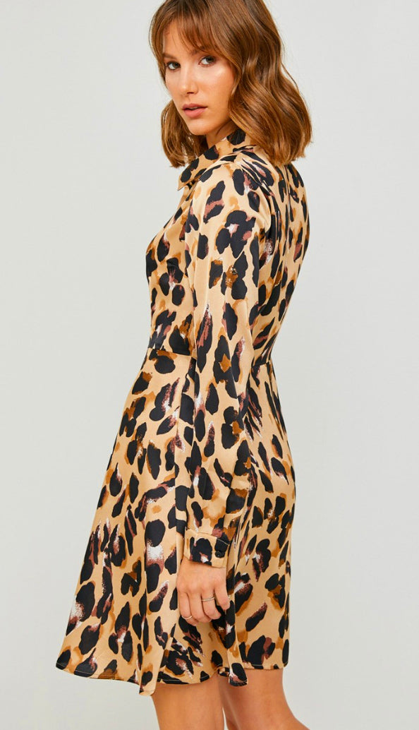 Spot On Satin Leopard Shirt Dress- Tan