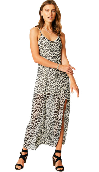 On The Prowl Leopard Slip Maxi Dress- Black