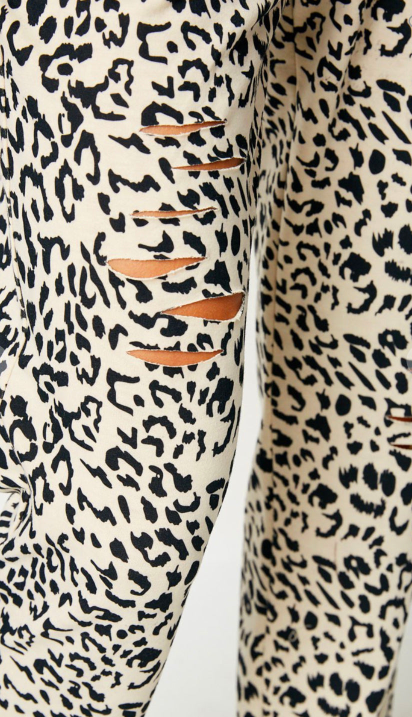 Lounge Around Distressed Leopard Joggers- Ivory/Black