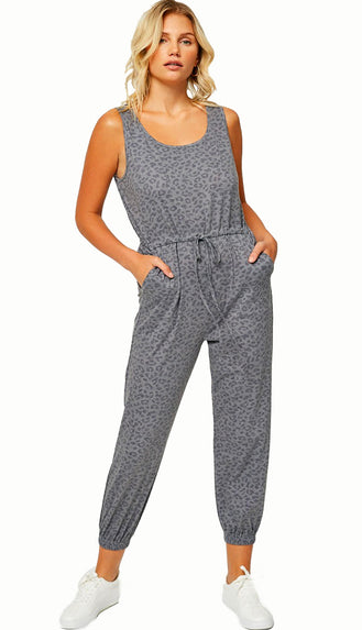 Travel With Me Washed Leopard Jumpsuit- Charcoal/Green