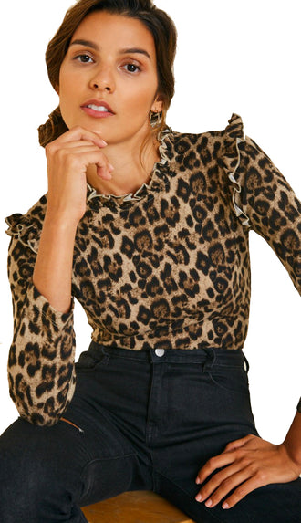 Simplest Ruffle Leopard Top- Brown/Black