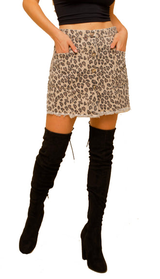 Here Kitty Kitty Leopard Mini Skirt- Taupe