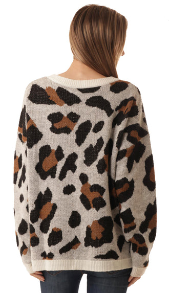 Loving On Leopard Sweater- Ivory