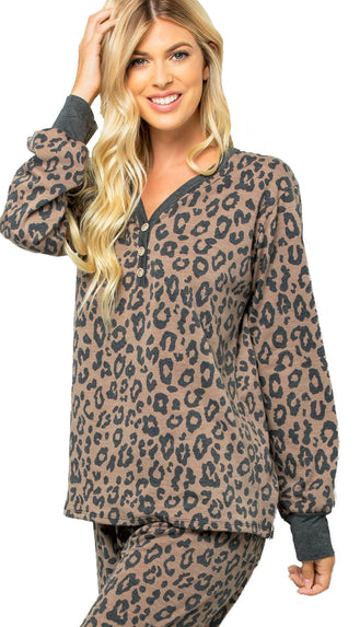 Leopard Print Loungewear Top- Brown