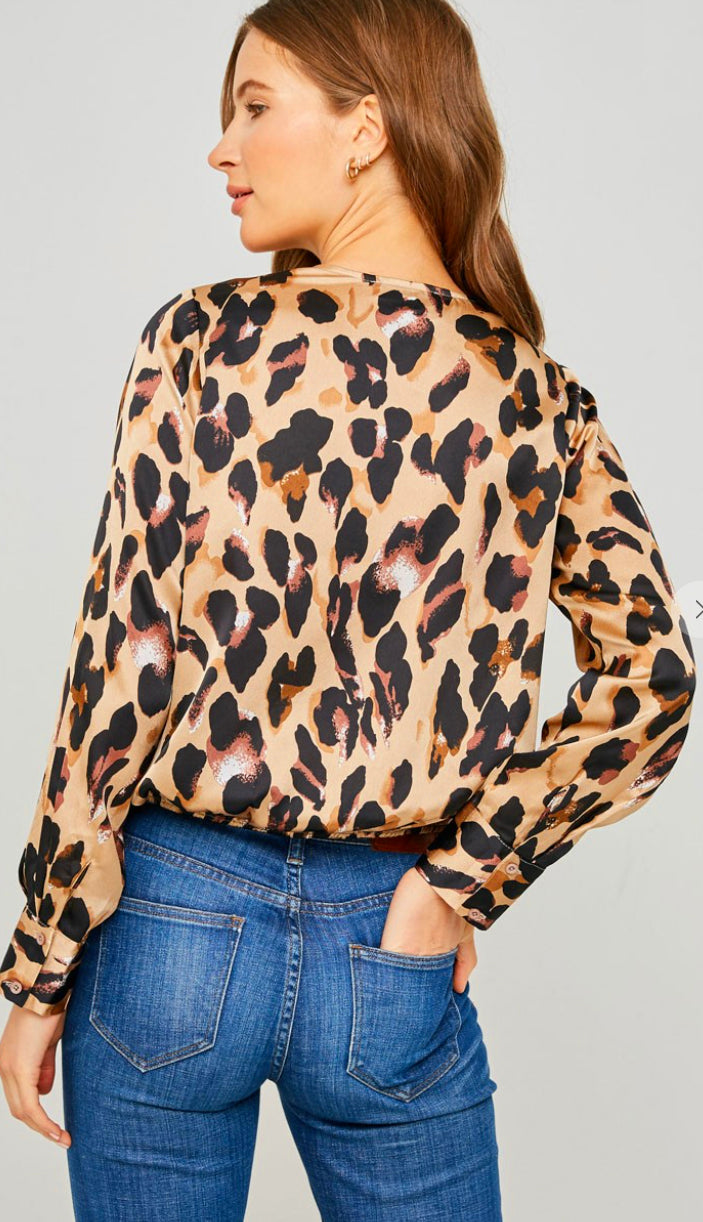 Pretty In Leopard Satin Top- Taupe
