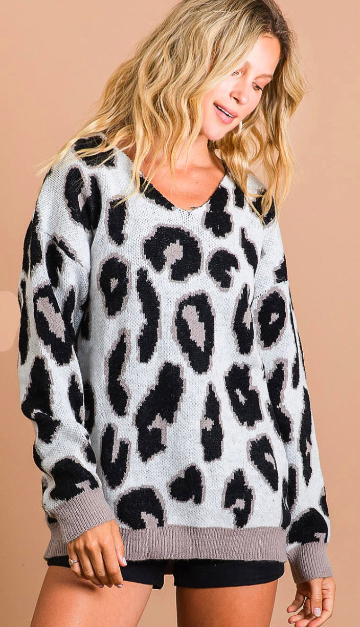 Active Pursuit Leopard Sweater- Ivory/Mocha