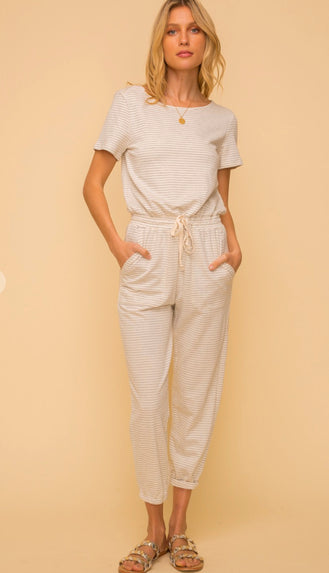 Simple Pleasure Pin Stripe Jumpsuit- Light Grey/Ivory