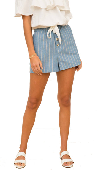 Pin Stripe Linen Shorts- Denim Blue