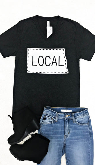 Local V Neck Tee- Black