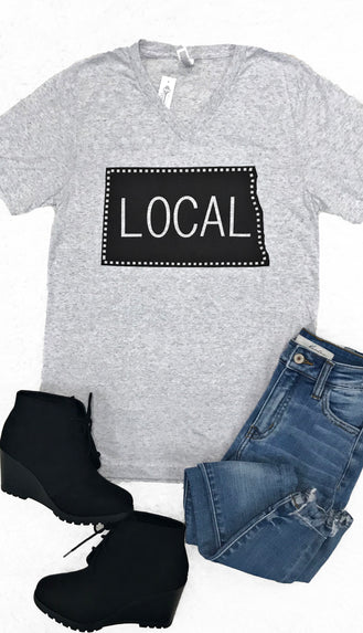 Local V Neck Tee- Heather Grey