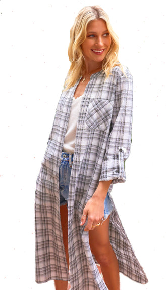 Effortless Plaid Duster Cardigan- Grey/White