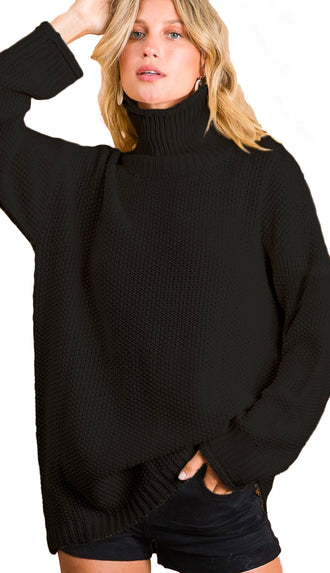 Longer Side Of Things Turtleneck Sweater Top- Black