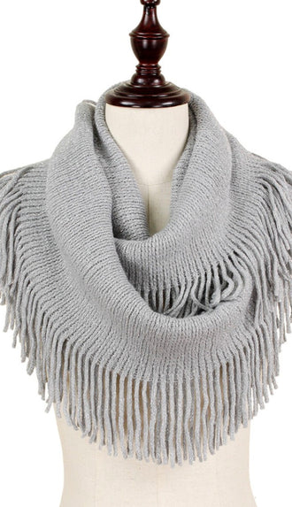 Lurex Sparkle Fringe Knit Infinity Scarf- Light Gray