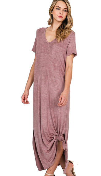 Relaxed And Ready T-Shirt Dress- Vintage Mauve
