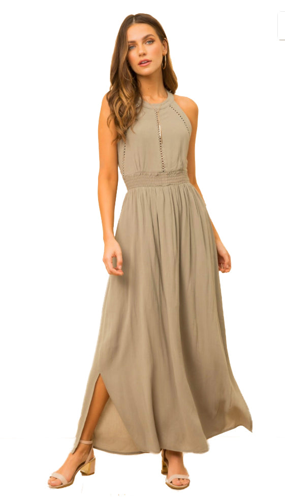 Recognize You Crochet Trim Maxi Dress- Dusty Olive
