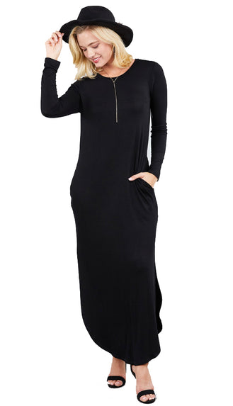 It's That Good Long Sleeve Maxi Dress- Black