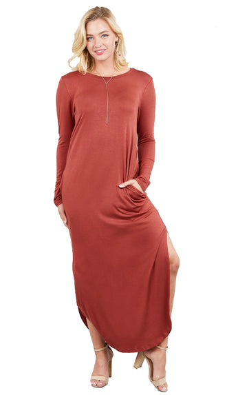 It's That Good Long Sleeve Maxi Dress- Rust