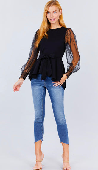 Pretty Peplum Mesh Sleeve Top- Black