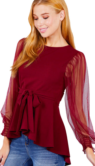 Pretty Peplum Mesh Sleeve Top- Burgundy