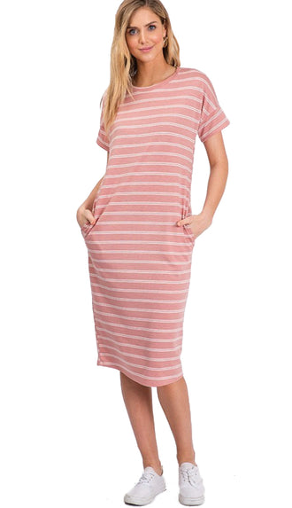 Sidewalk Stroll Midi Dress- Blush