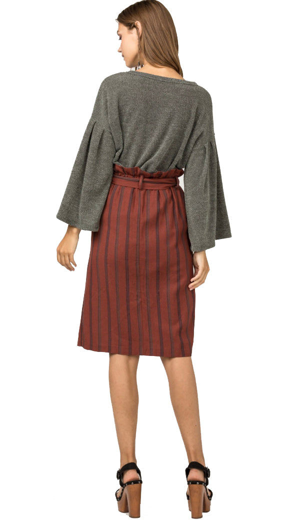 Striped Paperbag Skirt- Rust