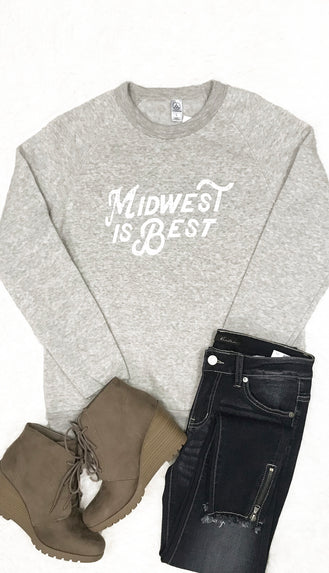 Midwest Is Best Crewneck Sweatshirt- Oatmeal/Grey