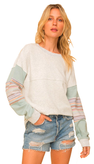 Lake Me There Pullover Sweater- Heather Grey/Mint
