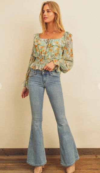 Morning Blooms Smocked Ruffle Blouse- Sea Green