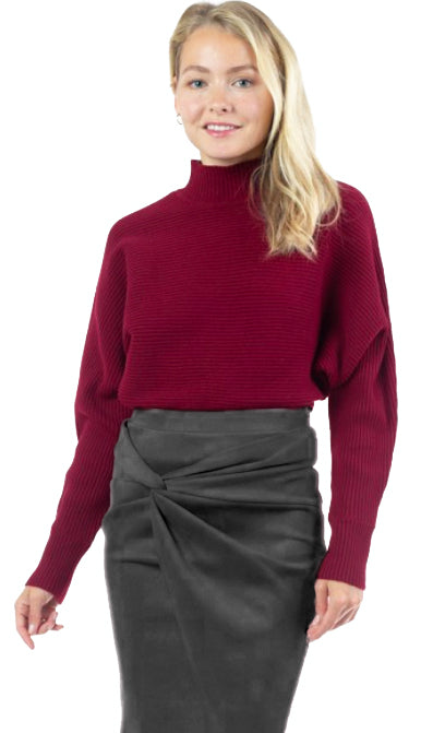First Pick Mock Neck Sweater- Burgundy