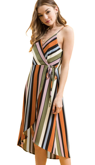 Wrap It Up Dress- Black Multi