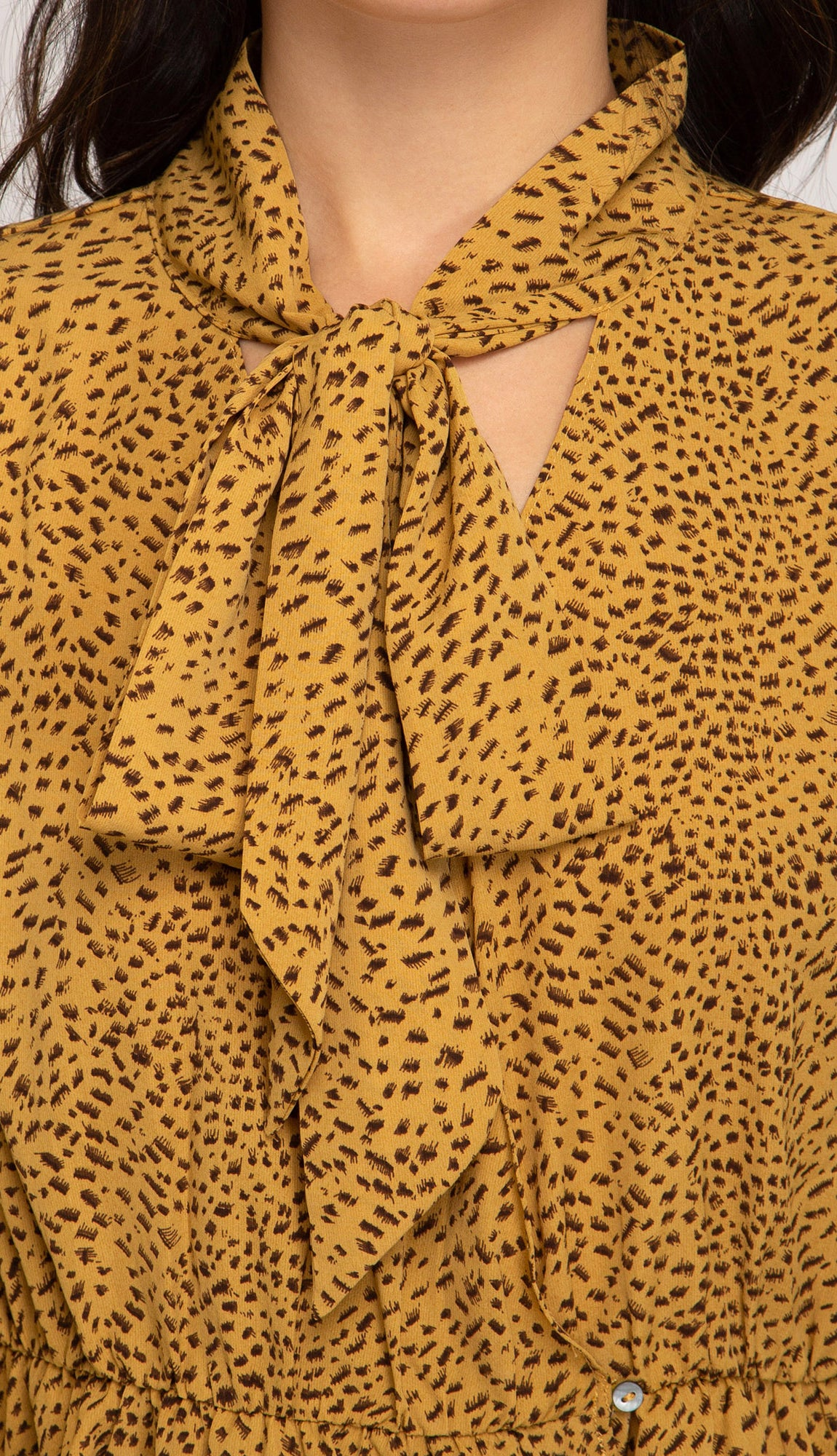Fall Awaits Neck Tie Blouse- Mustard