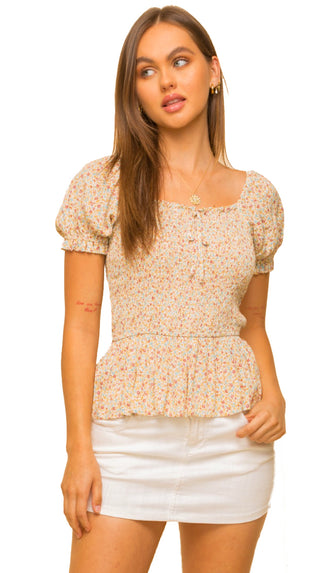 Smell The Daisies Floral Puff Sleeve Top- Mustard