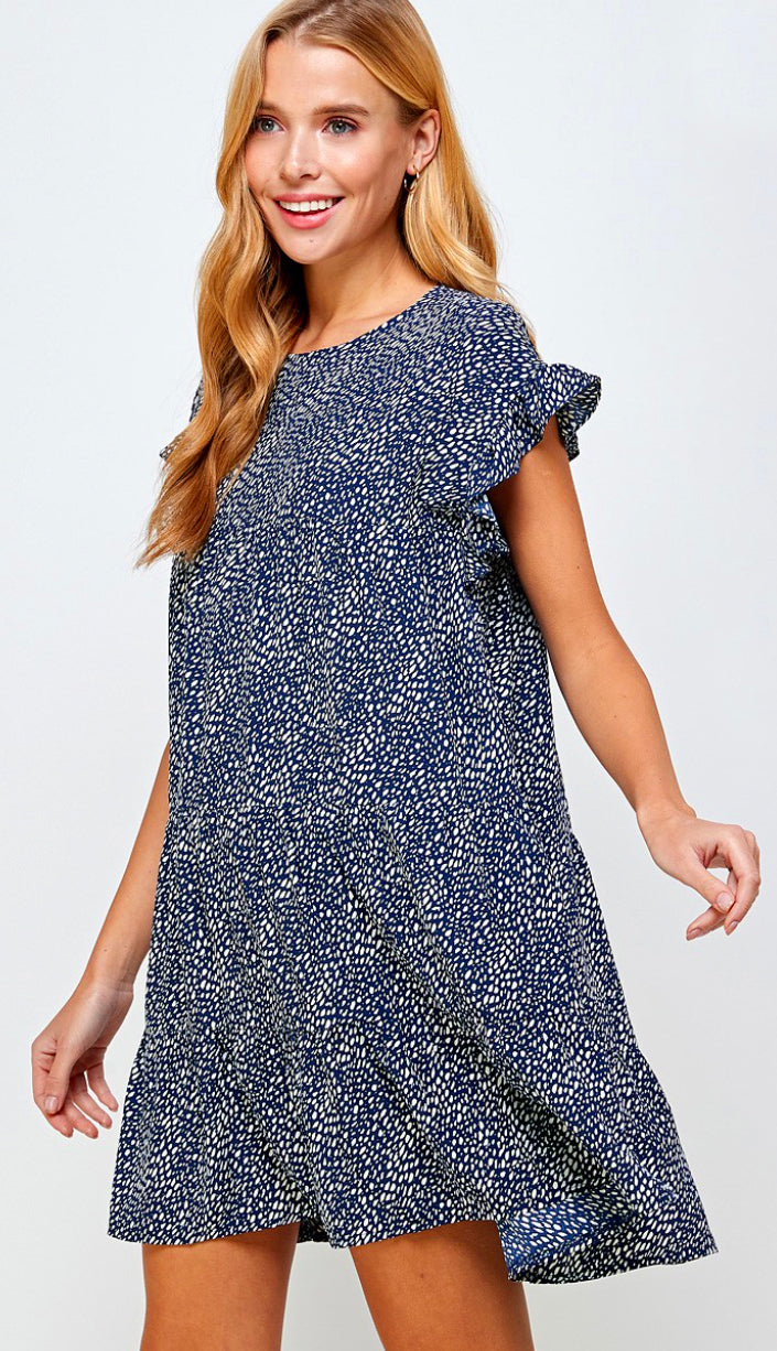 Toast To You Smocked Dress- Navy