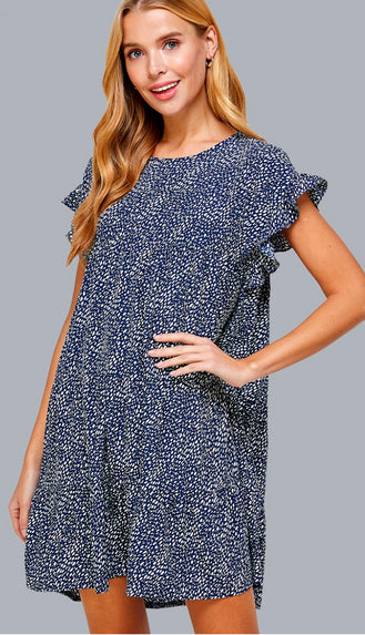 Kendall Button Up Smocked Midi Dress- Navy