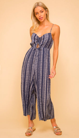 Marimar Tribal Print Jumpsuit- Navy