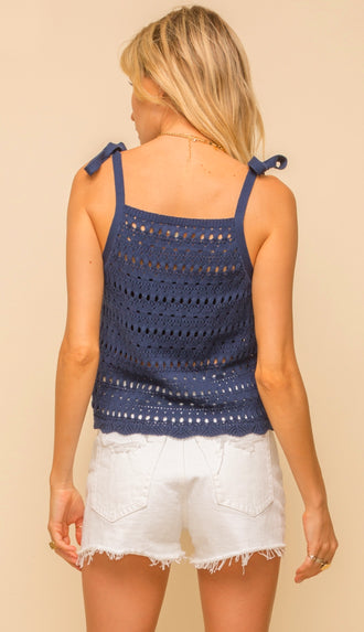 Solid Button Blouse Tank- Navy