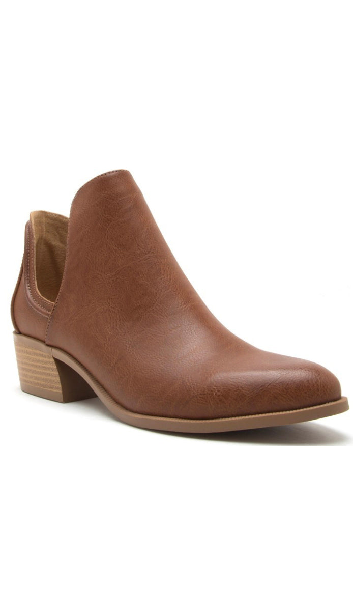 Split Shaft Ankle Booties- Cognac