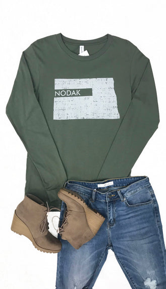 Nodak Distressed Long Sleeve Tee- Military Green