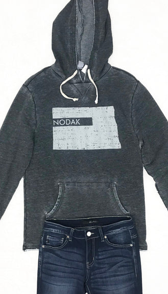 Nodak Distressed Burnout Hoodie- Faded Black