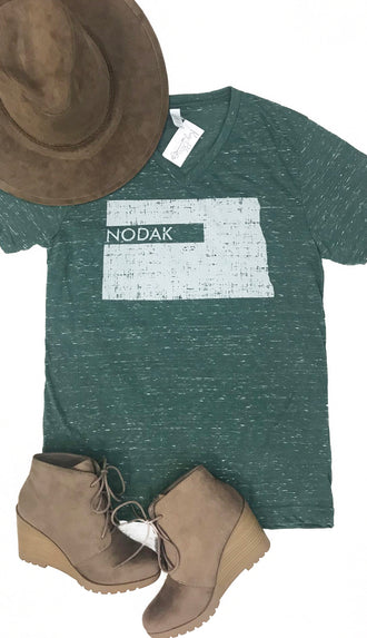 Nodak Distressed V Neck Tee