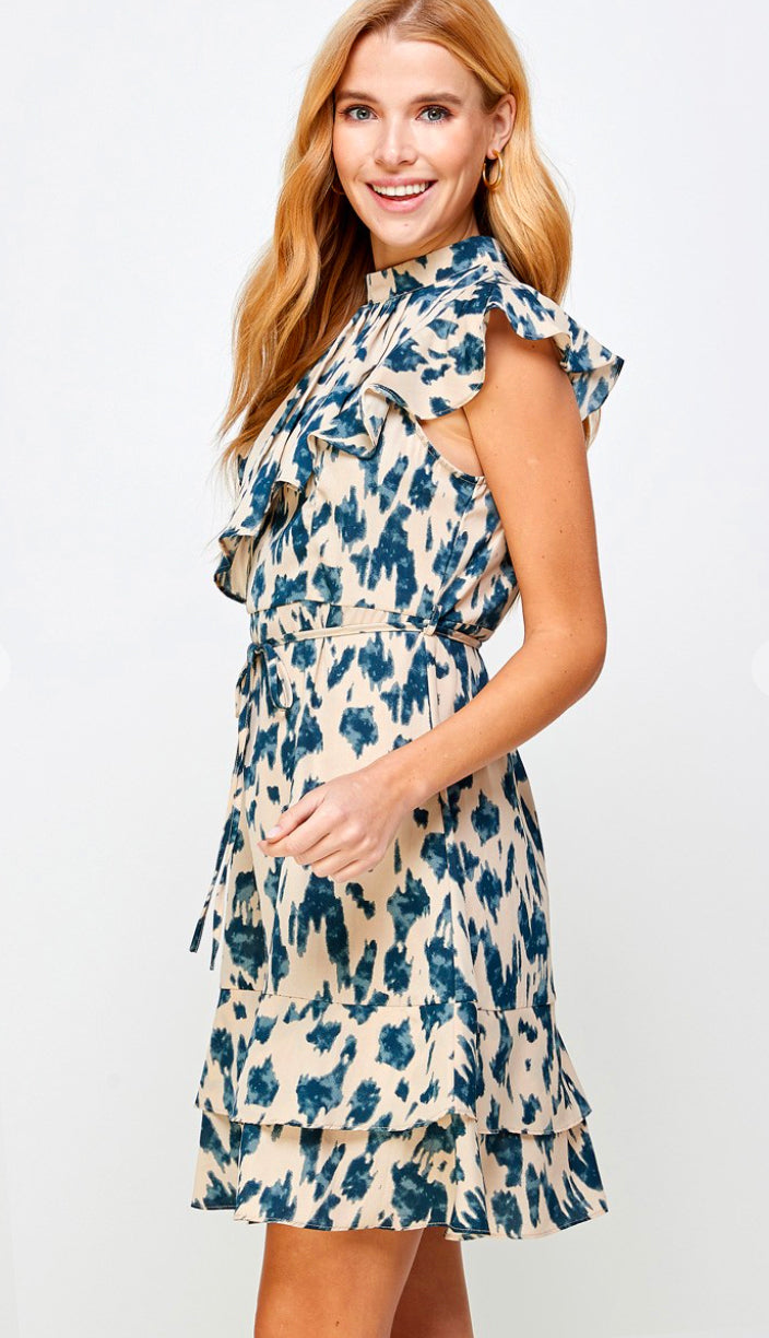 Dressed To Impress Layered Print Dress- Nude/Green