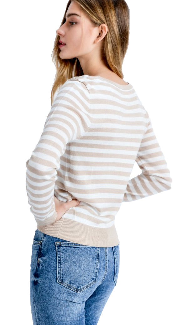 Stripe My Way Light Weight Top- Oatmeal