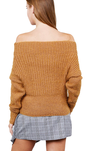 Off Shoulder Chunky Sweater-Camel