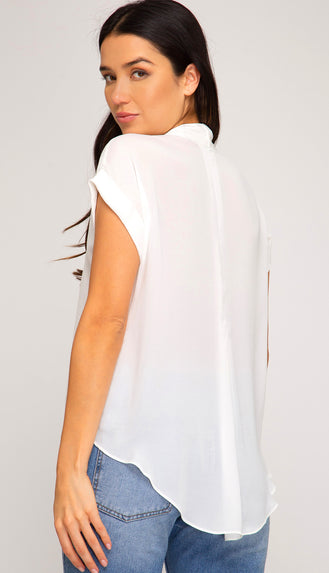 Grateful Forever Front Twisted Blouse- Off White